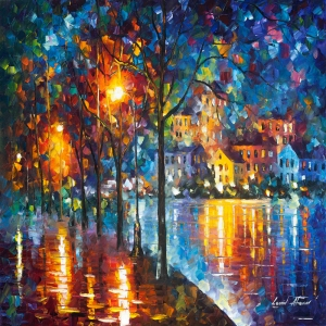 Akşam Işıkları Şehir Manzaraları Afremov 12 İç Mekan Dekoratif Kanvas Tablo