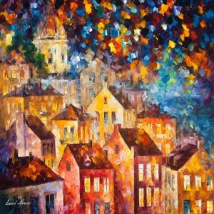 Akşam Işıkları Şehir Manzaraları Afremov 13 İç Mekan Dekoratif Kanvas Tablo