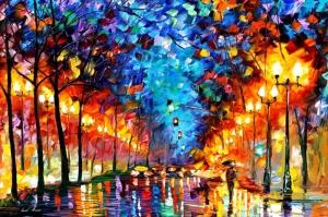 Akşam Işıkları Şehir Manzaraları Afremov 17 Sanat Kanvas Tablo