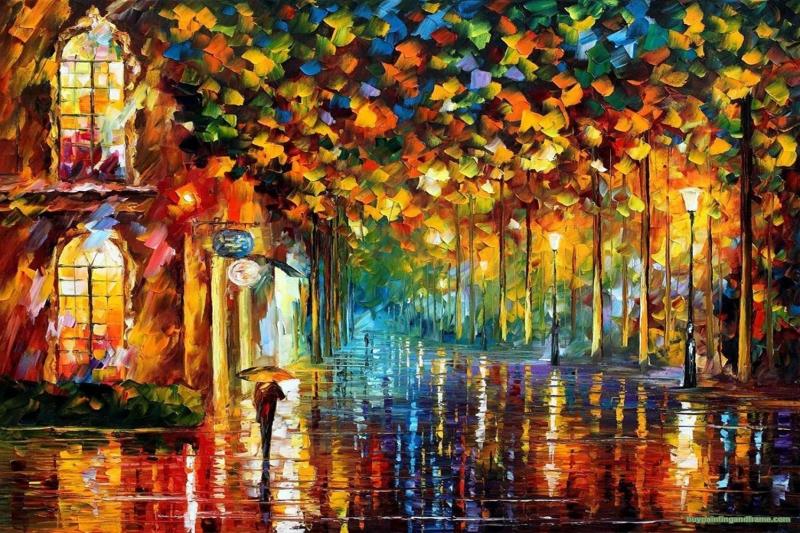 Akşam Işıkları Şehir Manzaraları Afremov 18 Sanat Kanvas Tablo
