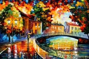 Akşam Işıkları Şehir Manzaraları Afremov 19 Sanat Kanvas Tablo