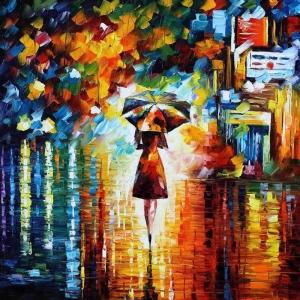 Akşam Işıkları Şehir Manzaraları Afremov 1a İç Mekan Dekoratif Kanvas Tablo