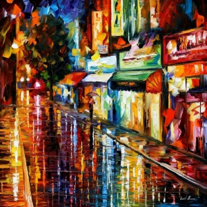 Akşam Işıkları Şehir Manzaraları Afremov 21 İç Mekan Dekoratif Kanvas Tablo