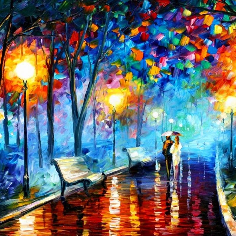 Akşam Işıkları Şehir Manzaraları Afremov 22 İç Mekan Dekoratif Kanvas Tablo