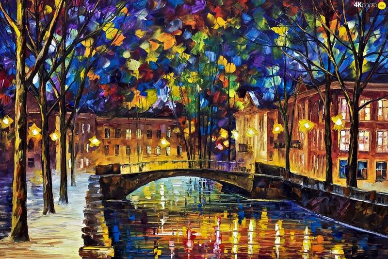 Akşam Işıkları Şehir Manzaraları Afremov 26 Sanat Kanvas Tablo
