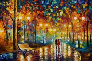 Akşam Işıkları Şehir Manzaraları Afremov 27 Sanat Kanvas Tablo