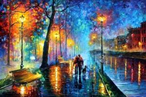 Akşam Işıkları Şehir Manzaraları Afremov 30 Sanat Kanvas Tablo