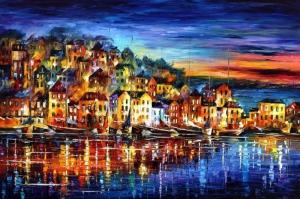 Akşam Işıkları Şehir Manzaraları Afremov 32 Sanat Kanvas Tablo