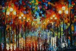 Akşam Işıkları Şehir Manzaraları Afremov 35 Sanat Kanvas Tablo