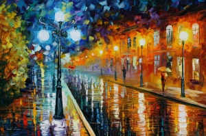 Akşam Işıkları Şehir Manzaraları Afremov 36 Sanat Kanvas Tablo