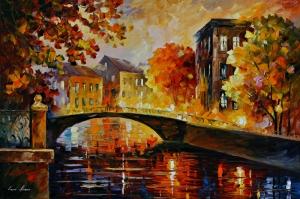 Akşam Işıkları Şehir Manzaraları Afremov 38 Sanat Kanvas Tablo