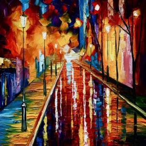 Akşam Işıkları Şehir Manzaraları Afremov 4 İç Mekan Dekoratif Kanvas Tablo