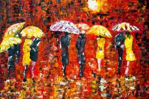 Akşam Işıkları Şehir Manzaraları Afremov 40 Sanat Kanvas Tablo
