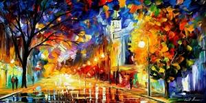 Akşam Işıkları Şehir Manzaraları Afremov 48 Sanat Kanvas Tablo