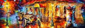 Akşam Işıkları Şehir Manzaraları Afremov 52 İç Mekan Dekoratif Kanvas Tablo