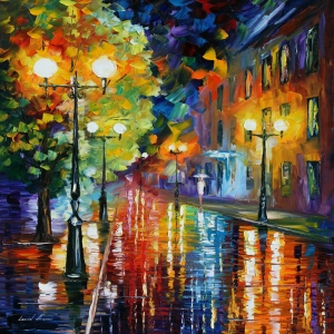 Akşam Işıkları Şehir Manzaraları Afremov 53 İç Mekan Dekoratif Kanvas Tablo