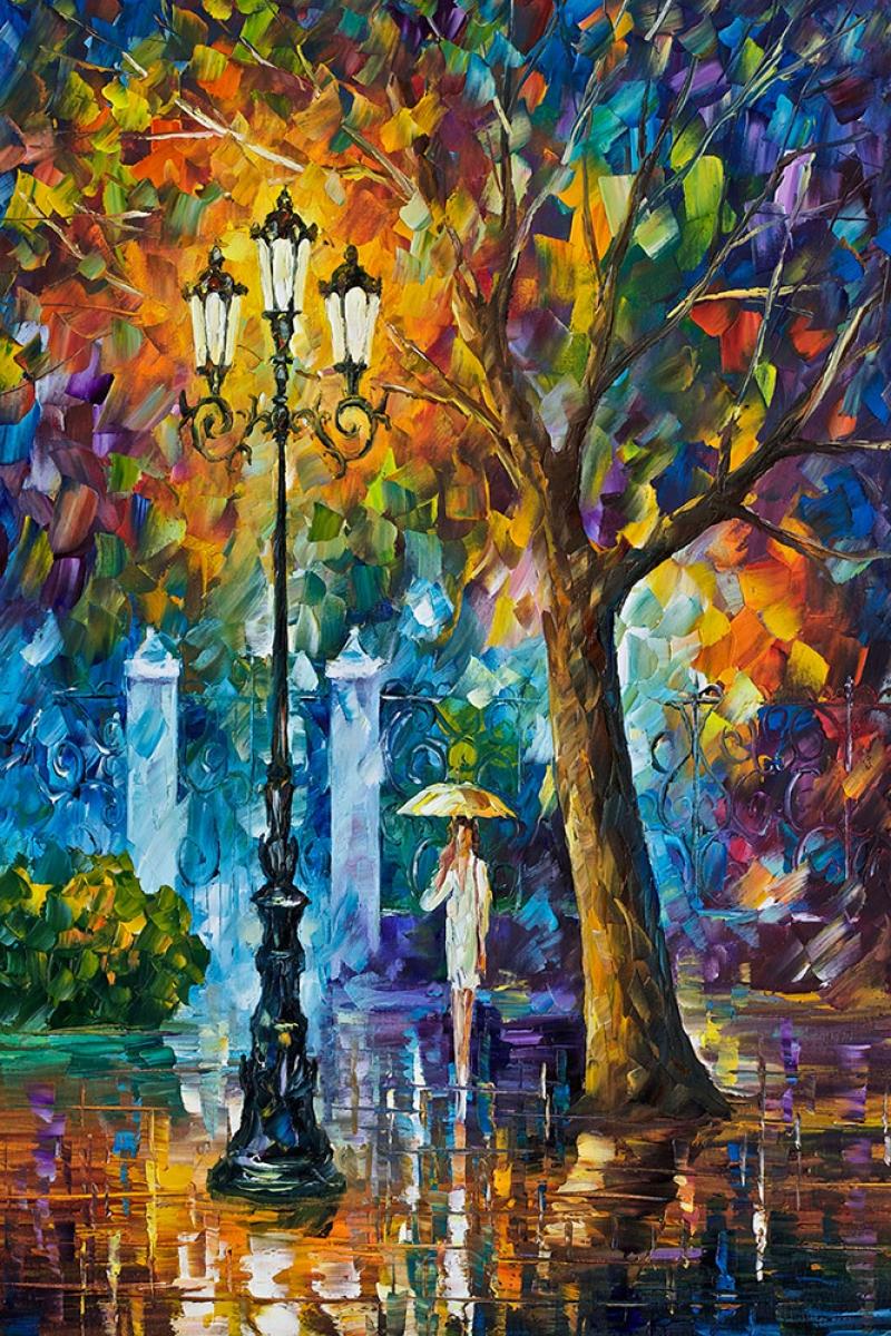 Akşam Işıkları, Şehir Manzaraları Afremov 55 Dekoratif Modern Kanvas Tablo