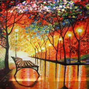 Akşam Işıkları Şehir Manzaraları Afremov 57 İç Mekan Dekoratif Kanvas Tablo