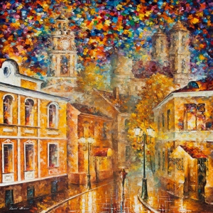 Akşam Işıkları Şehir Manzaraları Afremov 59 İç Mekan Dekoratif Kanvas Tablo