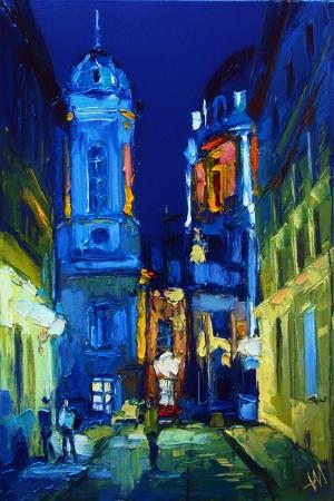 Akşam Şehir Işıkları 1 Lviv Ukrayna Yağlı Boya Dekoratif Modern Kanvas Tablo