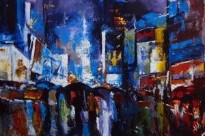 Akşam Şehir Işıkları 3 Newyork Yağlı Boya Modern Sanat Kanvas Tablo