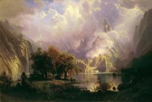 Albert Bierstadt Rocky Mountain Landscape Yağlı Boya Sanat Kanvas Tablo
