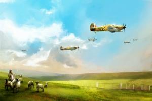 Alcak Ucus Yapan Savas Jetleri Yagli Boya Sanat Kanvas Tablo