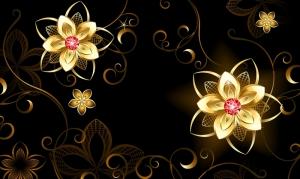Altın Çiçekler Abstract Dijital ve Fantastik Kanvas Tablo