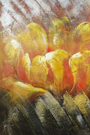 Altın Renkli Çiçekler 1 Yağlı Boya Dekoratif Modern Kanvas Tablo