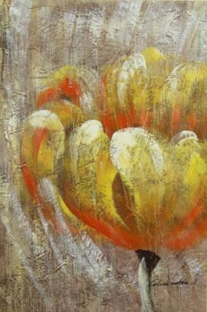 Altın Renkli Çiçekler 2 Yağlı Boya Dekoratif Modern Kanvas Tablo
