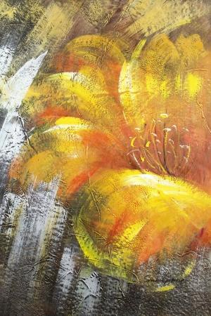 Altın Renkli Çiçekler 3 Yağlı Boya Dekoratif Modern Kanvas Tablo