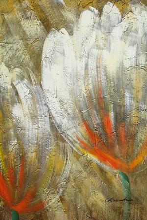 Altın Renkli Çiçekler 4, Beyaz Yağlı Boya Dekoratif Modern Kanvas Tablo