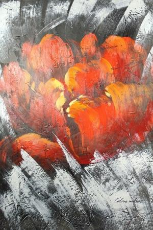 Altın Renkli Çiçekler 5, Kırmızı Yağlı Boya Dekoratif Modern Kanvas Tablo