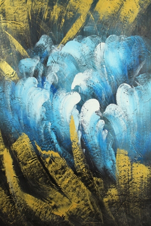 Altın Renkli Çiçekler 6, Mavi Yağlı Boya Dekoratif Modern Kanvas Tablo
