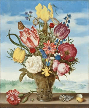 Ambrosius Bosschaert Bouquet Of Flowers On A Ledge Yağlı Boya Sanat Kanvas Tablo