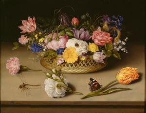 Ambrosius Bosschaert Çiçek Sepeti Yaglı Boya Klasik Sanat Kanvas Tablo
