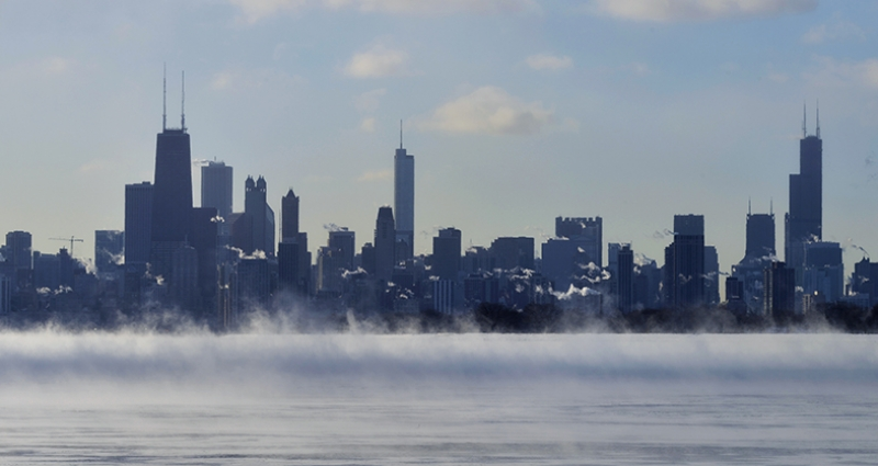 Amerika Chicago Panaroma Panaromik Manzara Kanvas Tablo