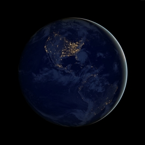 Amerika Kıtası Uzaydan Görünüm Dünya & Uzay Kanvas Tablo