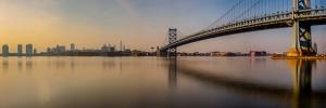 Amerika Philadelphia Şehir Köprüsü Panaroma Panaromik Manzara Kanvas Tablo