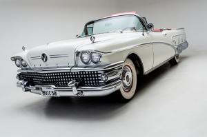 Amerikan Beyaz Klasik Otomobil Buick Kanvas Tablo