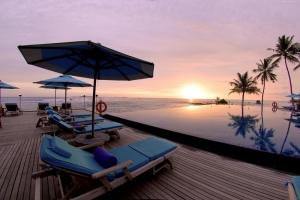 Anantara Sonsuz Havuz Deniz Maldivler Doğa Manzaraları Kanvas Tablo