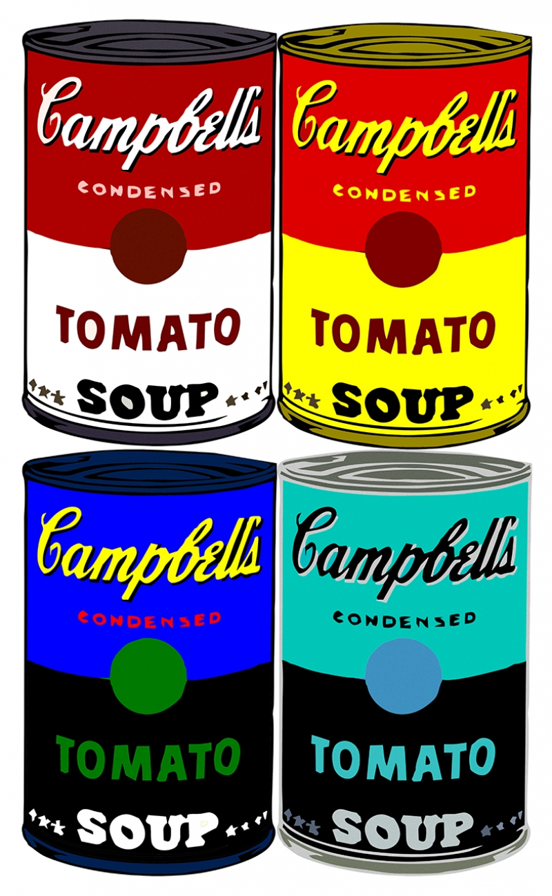 Andy Warhol Campbells Soup Pop Art Yağlı Boya Sanat Kanvas Tablo