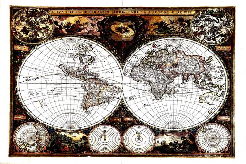 Antik Harita HD Canli Renkler Eski Cizim Dunya Haritasi Cografya Canvas Tablo