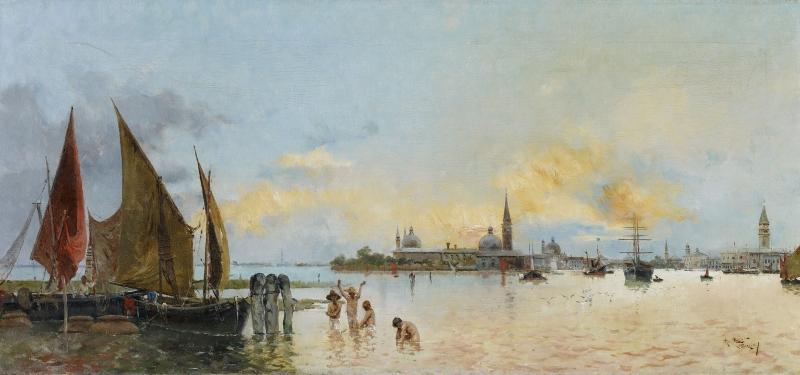 Anton Maria De Reyna Kanal Venedik İtalya Yağlı Boya Modern Sanat Kanvas Tablo