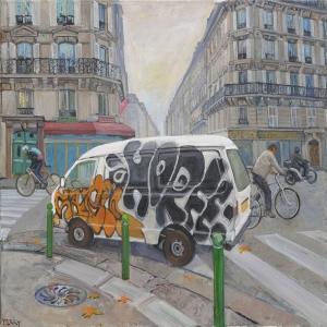 Araçlar Şehir Manzaraları Modern Teknik Sanat Kanvas Tablo