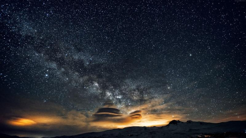 Aragats Yıldızları Gece Dağlar Nebula Dünya & Uzay Kanvas Tablo
