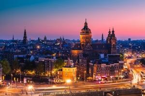 Armsterdam Gece Dünyaca Ünlü Şehirler Kanvas Tablo