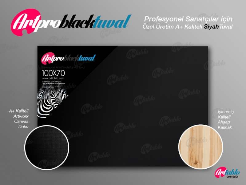 Art Pro Black Tuval - 70cm x 70cm