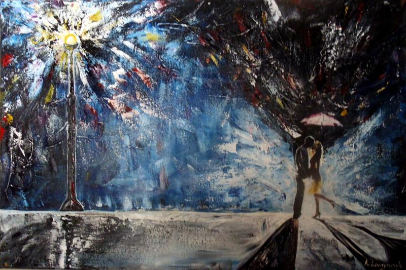Aşk 3 Sokak Lambası Altında Yağlı Boya Sanat Kanvas Tablo