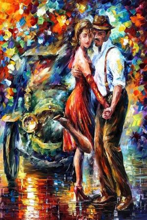 Aşk, Akşam Işıkları Şehir Manzaraları Afremov 1 Dekoratif Sanat Kanvas Tablo